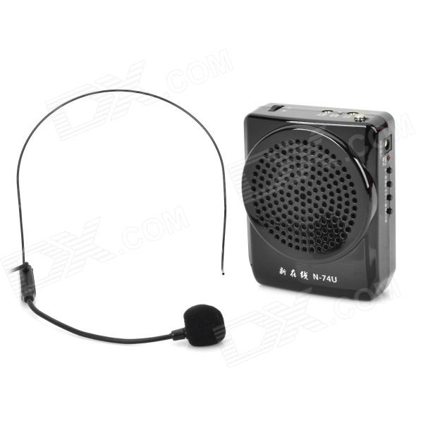 N74U Portable Media Player Speaker Magaphone w/ TF / USB / FM / Microphone - Black portable professional 2 4g wireless voice amplifier megaphone booster amplifier speaker wireless microphone fm radio mp3 playing