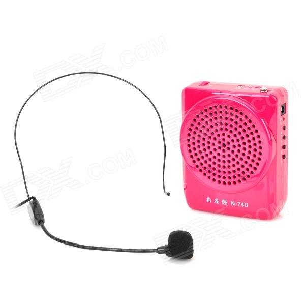N74U Portable Media Player Speaker Megaphone w/ TF / FM / USB / Microphone - Deep Pink portable professional 2 4g wireless voice amplifier megaphone booster amplifier speaker wireless microphone fm radio mp3 playing