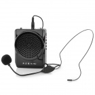 N74U Portable 7.4V 2000mAh 2-CH MP3 Teaching / Guiding Waist Megaphone w/ FM / TF / USB - Black