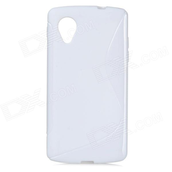 Anti-skid Protective TPU Back Case for LG Google NEXUS 5 - White protective silicone back case for lg nexus 5 translucent white