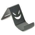 Mini Portable Desktop Smiley Face Aluminum Alloy Holder for Iphone 4 / 5 - Black
