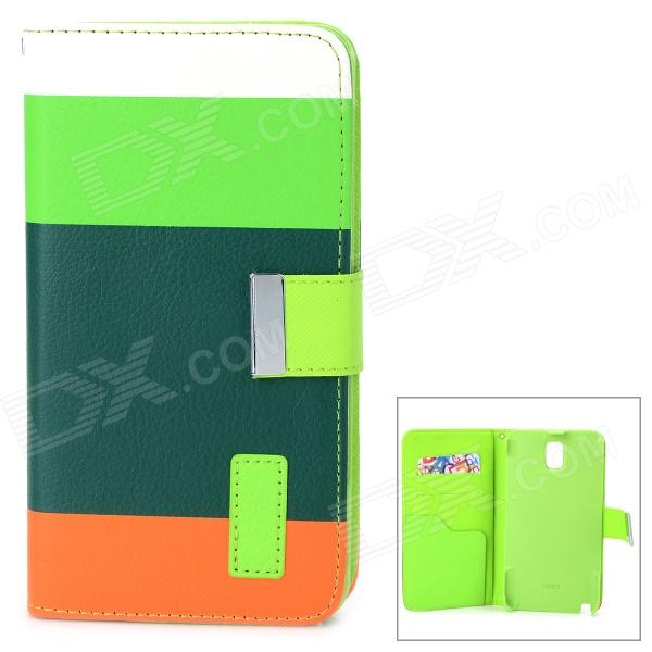 Protective PU Leather Case w/ Stand for Samsung Galaxy Note 3 / N9000 / N9005 + More - Deep Green protective pu leather flip open case w stand for samsung note 3 n9000 deep pink light green