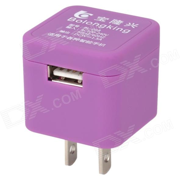 Baolongxing BL-008 Mini Portable Female USB 2.0 Output US Plug Power Adapter - Purple (100~240V)