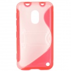 Stylish S Pattern Protective TPU + PC Back Case w/ Holder for Nokia 620 - Red + Translucent