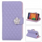Square Pattern Protective Leather Case w/ Stand / Card Slots for Samsung Note 3 - Purple