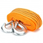 3 Ton Durable Nylon Tow Strap Rope w/ Double Hooks - Orange (2.8m)