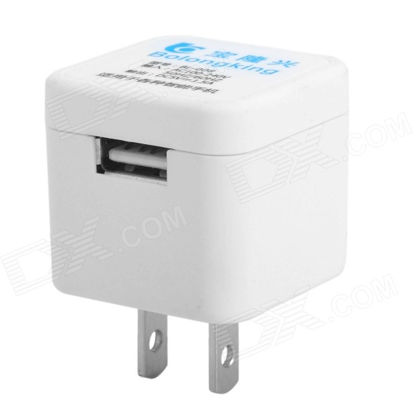 Baolongxing BL-008 Mini Portable Female USB 2.0 Output US Plug Power Adapter - Blue (100~240V)