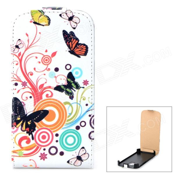 Stylish Butterfly Pattern Flip-open PU Leather Case for Samsung Galaxy Ace 2 i8160 - Multicolored stainless steel u shaped adjustable 4 hole shackle buckle for paracord bracelet silver 6 pcs