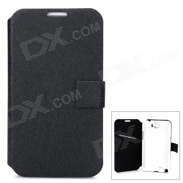 Simple Classic Flip-open PU Leather Case w/ Holder + Card Slot for Samsung N7100 / Note 2 - Black stylish flip open pu leather case w holder card slot for samsung note 3 black