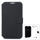 Simple Classic Flip-open PU Leather Case w/ Holder + Card Slot for Samsung N7100 / Note 2 - Black
