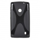 """X"" Style Protective TPU Back Case for Nokia Lumia 520 - Black"