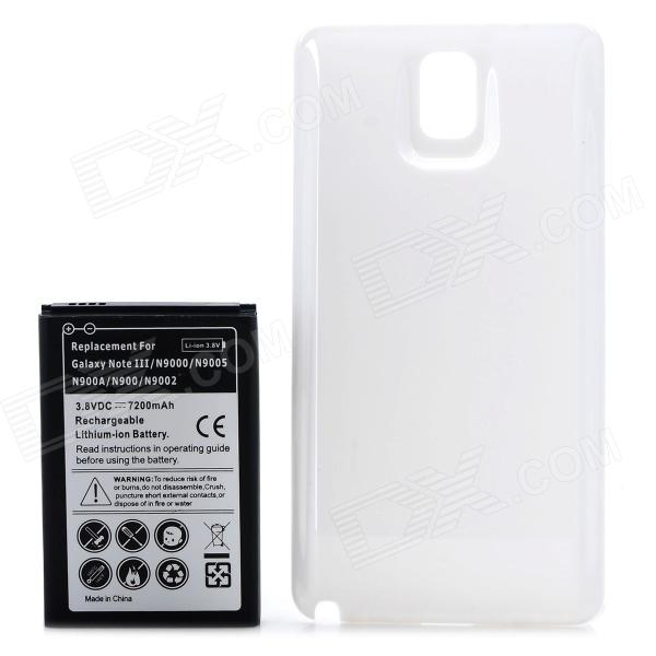Replacement 7200mAh 3.8V Battery for Samsung N9000/N9005/N900A/N9002/N900 - Black + White