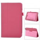 Lichee Pattern Protective Flip Open PU Leather Case w/ Stand for Asus 180A - Deep Pink