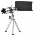 Aluminum Alloy 18X Telescope w/ TrIpod + Back Case for Iphone 5 / 5c / 5s - Black + Silver