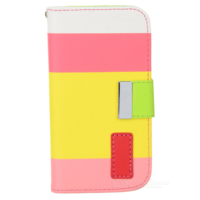 Protective PU Leather Case w/ Card Slot / Strap for Samsung Galaxy S4 Mini i9190 protective pu leather case w card slot for samsung galaxy tab3 p3200 deep pink