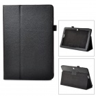 Lichee Pattern Protective Flip Open PU Leather Case w/ Stand for Asus 102 - Black