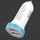 RCF-R8 Mini Portable Universal 2.4A Dual Female USB Output Car Charger - White + Blue