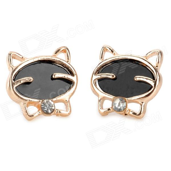 Cute Cat Style Gold-Plated Alloy + Rhinestone Earrings - Black + Golden (Pair)