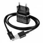 Universal EU Plug Power Adapter w/ Data Cable Set for Sony L39h / Xperia Z1 + More - Black