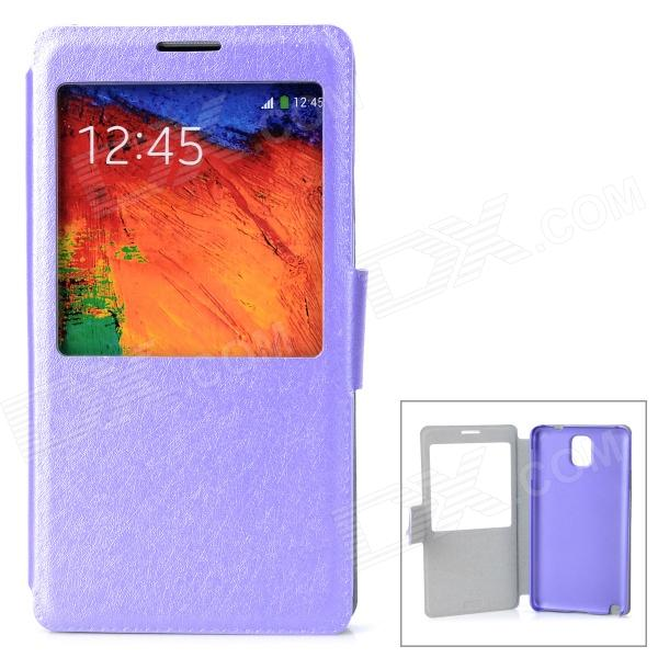 Protective Flip Open PU Leather Case w/ Stand / Display Window for Samsung Note 3 - Purple protective pu leather flip open case w stand for samsung note 3 n9000 deep pink light green