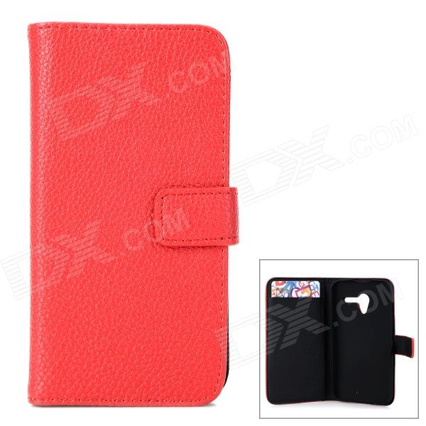 Stylish Flip-open PU Leather Case w/ Holder + Card Slot for Motorola Moto X (X Phone) - Red stylish flip open pu leather case w card slot holder for htc one max t6 red