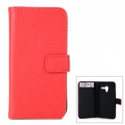 Stylish Flip-open PU Leather Case w/ Holder + Card Slot for Motorola Moto X (X Phone) - Red