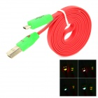 USB to Micro USB Data/Charging Cable w/ Smiley Face Flashing Light for Cell Phone - Red + Green