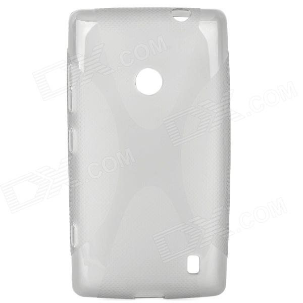Stylish X Pattern Protective TPU Back Case for Nokia 520 - Translucent Grey