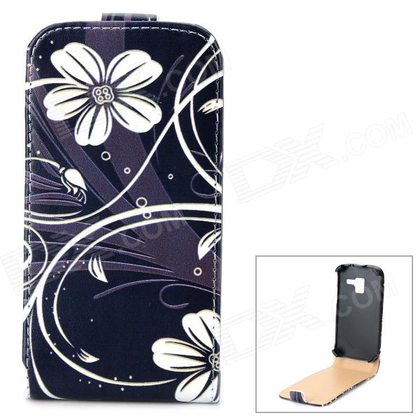 Stylish Flower Pattern Flip-open PU Leather Case for Samsung Galaxy Ace 2 i8160 - Black + WhiteLeather Cases<br>Brand N/A Quantity 1 Piece Color Black + white Material PU leather Compatible Models Samsung Galaxy Ace 2 i8160 Other Features Personalize your device and protect your it from scratch dust and shock Packing List 1 x Case<br>