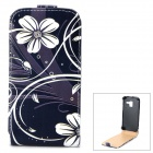 Stylish Flower Pattern Flip-open PU Leather Case for Samsung Galaxy Ace 2 i8160 - Black + White