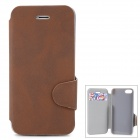 Stylish Flip-open Matte PU Leather Case w/ Holder + Card Slot for Iphone 5 / 5s - Brown