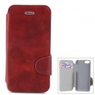 Protective PU Leather + Plastic Case w/ Card Holder Slot for Iphone 5 / 5s - Red Brown
