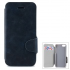 Protective PU Leather + Plastic Case w/ Stand + Card Slots for Iphone 5C - Dark Blue