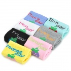 Strawberry Pattern Cotton Women's One Week Socks Set - Multi-Color (7 Pairs)