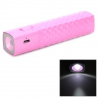 T819 Portable 2600mAh Power Battery Charger Power Bank w/ 1-LED Flashlight for Iphone / Ipod - Pink