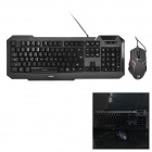 APOINT GX7100 Gaming USB Wired 104-Key Keyboard + 1200 / 1600 / 2000 dpi Mouse Set - Black