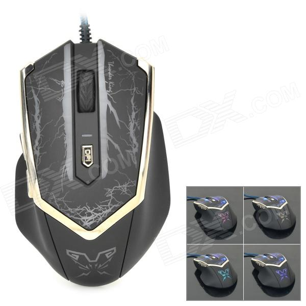Genius Thunder King USB 2.0 Wired Optical 800 / 1600 / 2000dpi Gaming Mouse w/ Pad - Black + Silver