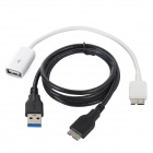 2-in-1 Micro USB 3.0 + USB OTG Cable for Samsung Galaxy Note 3 / N9000 + More - Black + White