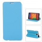 Protective TPU + PU Full Body Case w/ Stand for Samsung Note 3 / N9000 - Blue + Grey