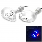 Skull Head Style Universal 2W 30lm 4-LED Red + Blue Light Motorcycle Decoration Light - Silver (12V)