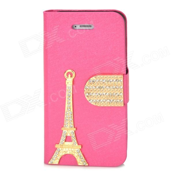PUDINI WB-IP5G Rhinestone Eiffel Tower Style Protective PU Leather Case for Iphone 5 - Deep Pink protective cartoon eiffel tower epoxy dripping plastic back case for iphone 4 4s deep pink