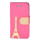 PUDINI WB-IP5G Rhinestone Eiffel Tower Style Protective PU Leather Case for Iphone 5 - Deep Pink