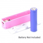 "Portable ""1800mAh"" Replaceable 18650 Battery External Power Charger - Pink"