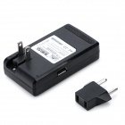 USB US Plugs Power Charger + EU Plug Adapter for Samsung Galaxy Note 3 + More - Black (100~240V)