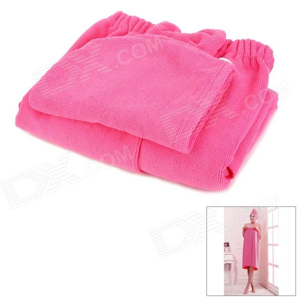 LX-9009 Cozy Fiber Bath Towel + Shower Cap - Deep Pink от DX.com INT