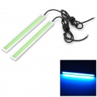 Universal 5~6W 60-COB LED Ice Blue Light Daytime Running Light - Silver + Light Green (14cm / 12V)