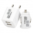 Universal Dual Female USB Output Car Charger + EU Plug Power Adapter for iPhone / Samsung + More