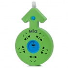 MIG SP-5261U1 10A 2500W Lovers USB 5-Port Socket Power Strip w/ Switch Control - Green + Blue (250V)