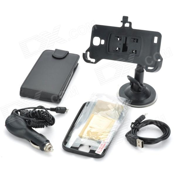 PU Protective Case + Back Case + USB Cable + Mount Holder + Car Charger for Samsung Galaxy S4 i9500 плейстейшен