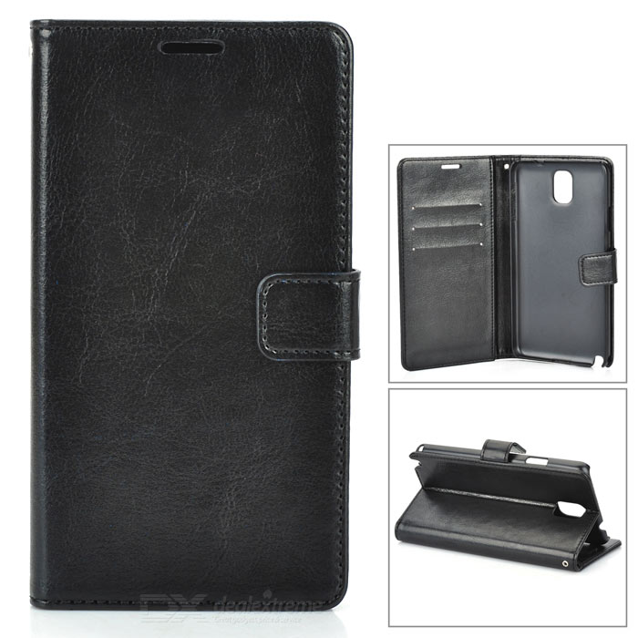 Protective PU Leather Case for Samsung Galaxy Note 3 - Black for iphone lcd iphone 5c i5 02